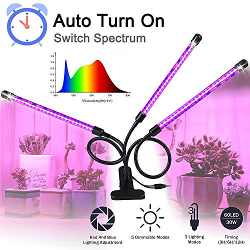 Grow Light, Grow Lights for Indoor Plants - BaoChen 30W Plant Light with Auto Turn On Function, 60 LED, 3/6/12H Timer, 5 Dimmable Modes, 3 Spectral Modes, 3 Divide Control Grow Lamp [Upgraded Switch]