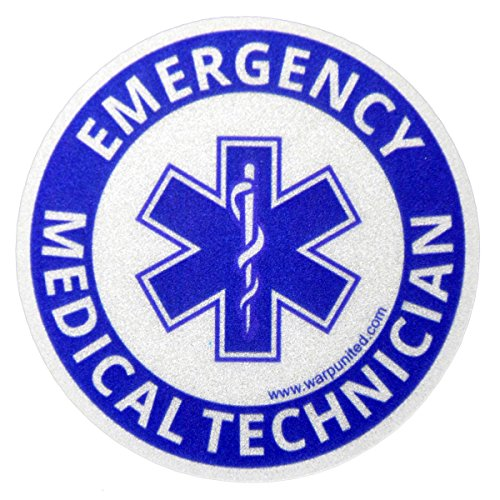 - 4-Pack 4 inch EMT Reflective Round Bumper Sticker for Emergency Medical Technician on Helmet, Equipment, Vehicle Waterproof Disinfectable Decal Medium