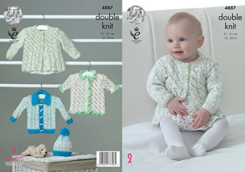 King Cole Baby Double Knitting Pattern Matinee Coat Long or Short Sleeve Cardigans & Hat DK (4887)