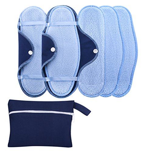 (Reusable Natural Sanitary Napkins,Cotton Cloth Menstrual Maxi Pads Sets:2 Snap-on + 5 Cotton Liner Inserts, Eco-Friendly Soft Variety Pack Giving You the Comfort and Freedom You Need)