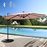 PATIOROMA Commerical 10 Feet Aluminum Solar Powered LED Offset Cantilever Outdoor Patio Umbrella with Bluetooth Stereo Speaker and Steel Cross Base, 250g/sqm Polyester, Beige …