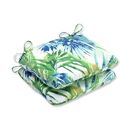 Pillow Perfect Outdoor/Indoor Soleil Rounded Corners Seat Cushion (Set of 2), Blue/Green