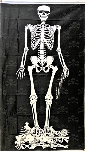 ALBATROS 3 ft x 5 ft Pirate Skeleton Flag 5in x 3in Skull Skeleton Bones Pirate Halloween for Home and Parades, Official Party, All Weather Indoors Outdoors]()