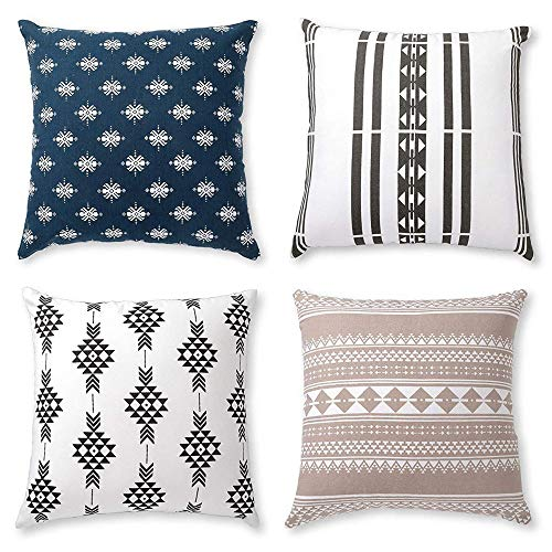 Boho Throw Pillow Covers or Decorative Cushion Covers for Couch, Sofa, Bedroom Bohemian Set of 4 18X18 Modern Geometric Pillow Case for Home Decor or Farmhouse, 100% Cotton, Horizon Blue -