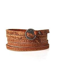 Jenia Letter Engraved Soft Leather Bracelet Cuff Bangle Rope Multilayer Wristband Unisex Jewelry