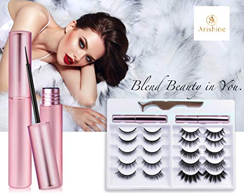 Updated 3D 6D Magnetic Eyelashes with Eyeliner Kit- 2 Tubes of Magnetic Eyeliner & 10 Pairs Magnetic Eyelashes Kit-With Natural Look & Reusable False lashes -No Glue Need