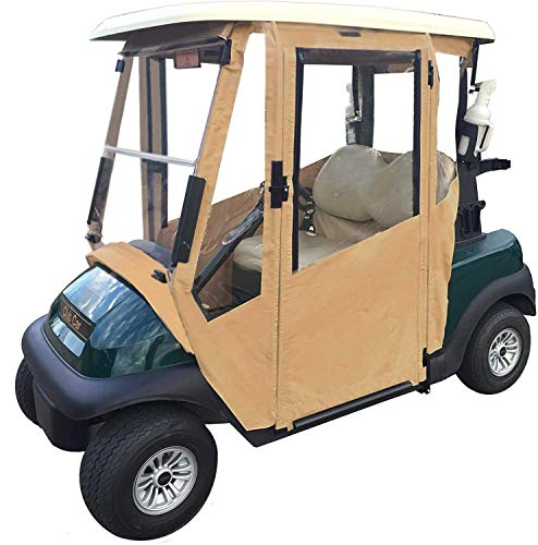 Golf Cart Cover Enclosure Sunbrella. DoorWorks with Hinged Doors. (Black, EZGO RXV)