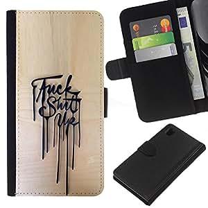 ZCell / Sony Xperia Z1 L39 / Up Mess Aggressive Poster Message / Caso Shell Armor Funda Case Cover Wallet / Arriba lío agresivo Cartel Men