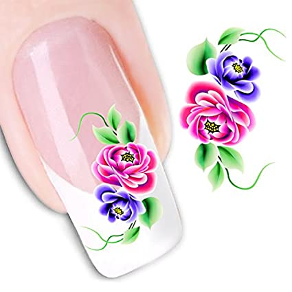 Amazon Ottery Rose Red And Purple Flowers Nail Art Decoration