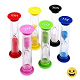 Multicolor Sandglass Timers - Small Colorful Sandglass Sand Clock Colored Timer Suit 30sec/1min/2mins/3mins/5mins/10mins (6pcs) Mini Toy Hourglass Set for Kids at Home and School