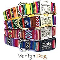 Engraved dog collar Personalized dog collar Dog id tag Embroidery dog collar Aztec Navajo Boho Bohemian Tribal Southwestern custom pet collar Yellow Brown red Purple Puppy Small dog Large dog boy dog