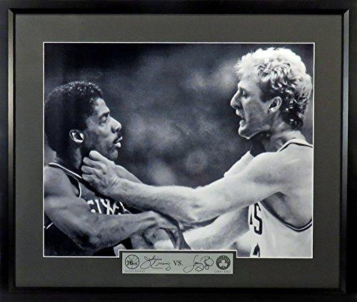 Boston Celtics Larry Bird vs. Philadelphia 76ers Julius Erving 16x20 Photograph (SG Signature Engraved Plate Series) Framed