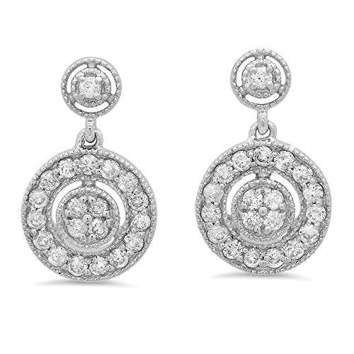 Fingalo 0.60 Carat (ctw) 10K White Gold Round White Diamond Ladies Circle Cluster Style Dangling Earrings