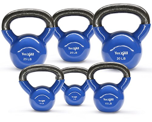 Yes4All Combo Vinyl Coated Kettlebell Weight Sets – Great for Full Body Workout and Strength Training – Vinyl Kettlebells 5 10 15 20 25 30 lbs