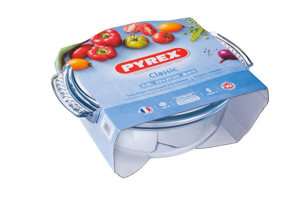 Pyrex Classic Vidrio - Cazuela redonda con tapa, 1.4 l