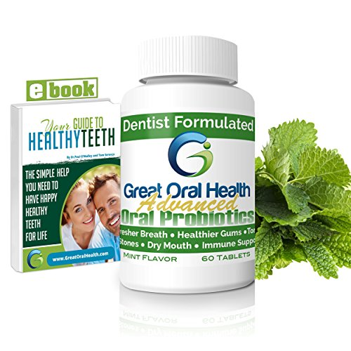 Price comparison product image Chewable Oral Probiotics~Dentist Formulated 60 Tablet Bottle~Attack Bad Breath,  Gum Disease And Build Strong Oral Health. Contains BLIS M18 and BLIS K12~Mint Flavor~83 Page eBook Included!