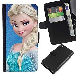 A-type (Blue Blonde Ponytail Children'S) Colorida Impresión Funda Cuero Monedero Caja Bolsa Cubierta Caja Piel Card Slots Para Sony Xperia Z3 D6603