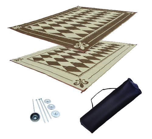 EZ Travel Mats RV Patio Mat Awning Mat Outdoor Leisure Mat 9×18 Diamond Complete Kit