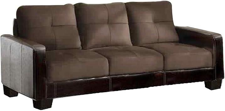 Amazon.com: Benjara Benzara Contemporary Style Wooden Sofa, Espresso Finish: Furniture & Decor