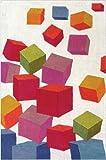 Area Rug, Beige Kids Colorful Cubes Soft Wool Carpet, 5' X 8'