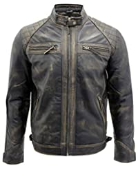 Men's Vintage Black Leather Racing Biker Jacket