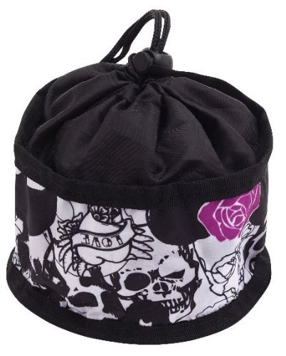 Doggles Foldable Travel Bowl, Black Skull Roses – Large, My Pet Supplies
