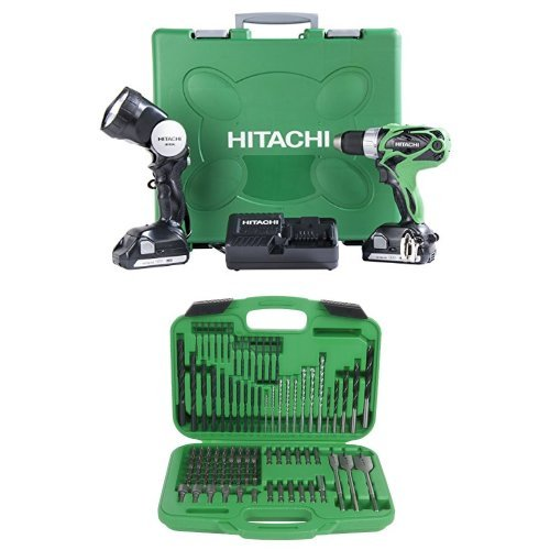 Hitachi DS18DSAL 18-Volt Lithium Ion Compact Pro Driver Drill with Flashlight and Drill And Drive Bit Set, 120-Piece