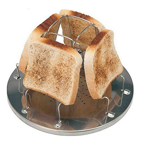 Zaptex 4 Slice Toaster Tray Toast Rack Stove Toaster Stainless Steel Camping Toaster Rack from (One Size)
