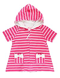 RuffleButts Infant/Toddler Girls Hot Pink Hoodie Stripe Terry Swimsuit Cover up