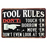 Tool Rules Metal Tin Sign, Vintage Plate Plaque Tool Shed Garage Home Wall Decor