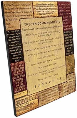 Kingdomware Wood Ten Commandments 24.25 x 31.5 x 1.5 Inch Christian Home Decor Large