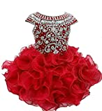 Weiai Toddler Girls' Ruffles Beaded Short Cupcake Pageant Dresses 3/3T US Red