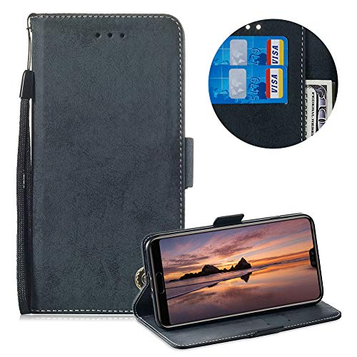 Moiky Leather Wallet Case for Huawei P20,Flip Case with Wrist Strap for Huawei P20,Classic Retro Black Solid Color Flex Soft PU Leather Wallet Magnetic Closure Folding Flip Case