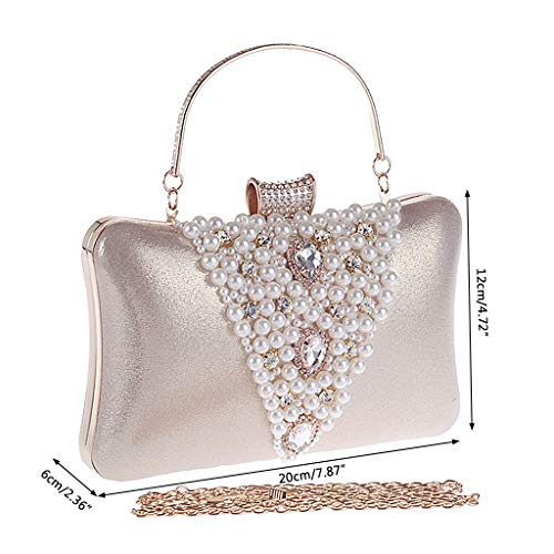 Pearls Evening Rhinestone Shoulder Bag Party Purse Bridal Faux Prom Clutch 1 Women Black Handbag Pcs Fashion Lady YOFO xwZ4YOq0n