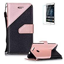Huawei Nova Case [with Free Screen Protector},Funyye Stylish Premium Flip Magnetic Detachable PU Leather Wallet with Credit Card Holder Slots Smart Standing Folio Book Style Ultra Thin Different Color Splicing Protective Case Cover Skin for Huawei Nova -Pink