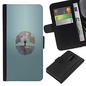 KLONGSHOP // Tirón de la caja Cartera de cuero con ranuras para tarjetas - Árbol de la vida - LG G3 //