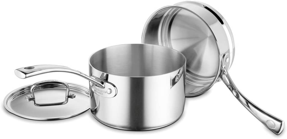 Cuisinart French Classic Tri-Ply Stainless 3-Piece Saucepan and Double Boiler Set