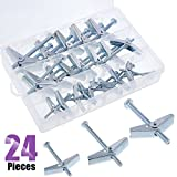 Swpeet Assorted 24 Pcs Toggle Bolt and Wing Nut for Hanging Heavy Items on Drywall - 1/8 inch, 3/16Inch, 1/4Inch