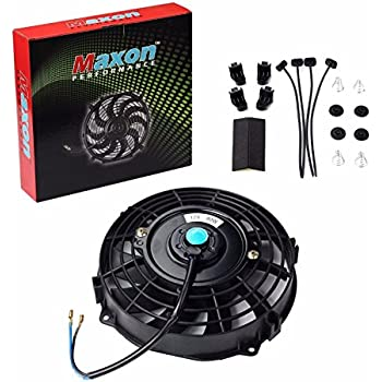 Universal Slim Fan Push Pull Electric Radiator Cooling 12V 80W Mount Kit (Black, 7