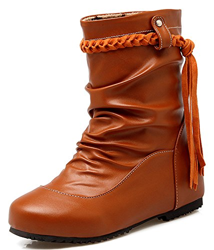 Dressy Ankle Heighten IDIFU Slouchy Women's Boots Yellow Heels Low Short Tasseled Fringes aU6HAq