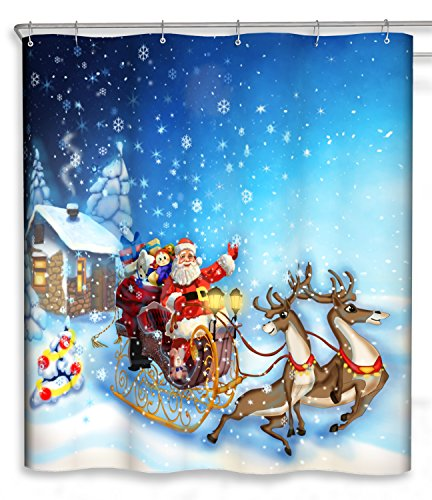 Chunyi Merry Christmas Bathroom Decoration Polyester Fabric Shower Curtains Liner 7272