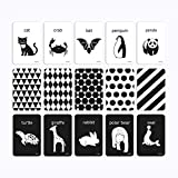 Flash Cards Black and White for Infants, 15 Cards Animal Letter Visual 4''x6'' /10cm x 15cm Designed for 0–6 Months Kids Babies with High Contrast