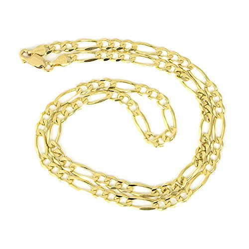 Men's 14k Solid Yellow Gold Figaro 5mm Chain Necklace, 18'' by Beauniq