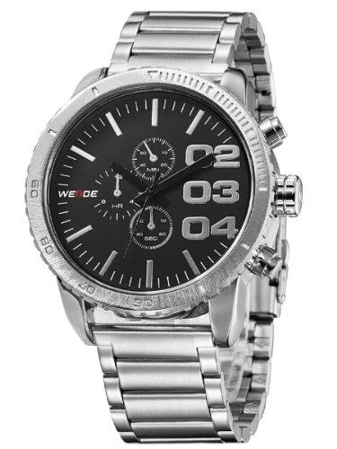 Alienwork Quarz Armbanduhr XXL Oversized Quarzuhr Uhr Wasserdicht 3ATM schwarz silber Metall OS.WH-3310-1