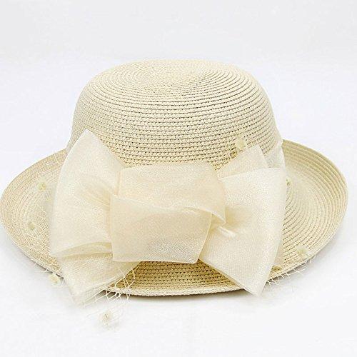 Bowknot De Summer Gaoqq Beige Travel Sombrero Paja Femenina Hat Beach Hat grey dICIw5q