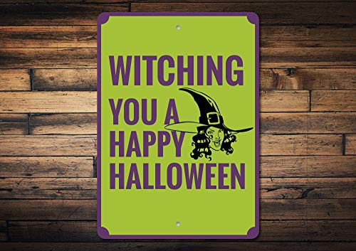 Dozili Witch Sign Happy Halloween Sign Halloween Decor Witch Decor Witch Lover Gift Funny Halloween Phrase Sign Quality Metal 8