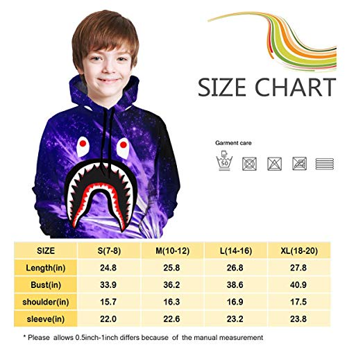 peter Bape Blood Shark Boys Girls Sweatshirt Hoodies Pullover Hooded Clothes with Pocket