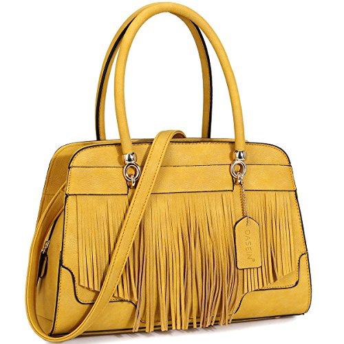 Dasein Womens Handbag Fashion Shoulder Bag Top Handle Satchel Bag (yellow) (Handbag Yellow Designer)