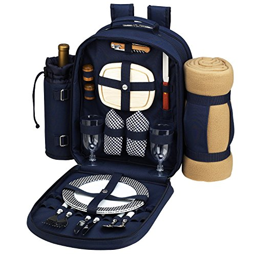 Review Of Picnic at Ascot - Deluxe Equipped 2 Person Picnic Backpack with Cooler, Insulated Wine Hol...