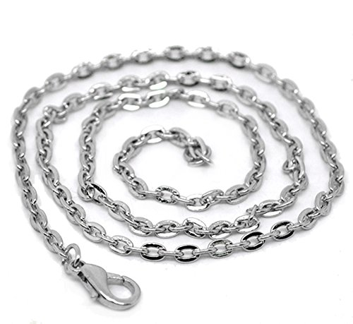 Quantity 12 - 20 Inch Silver Tone Lobster Clasp Necklace - Flat Cable Chain 4x3mm - For Jewelry ()